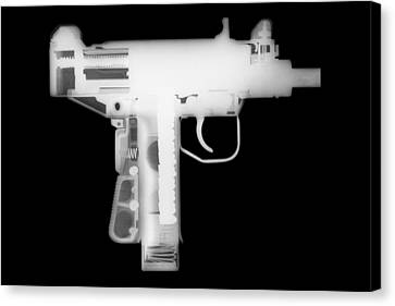 Micro Uzi Reverse Canvas Print by Ray Gunz