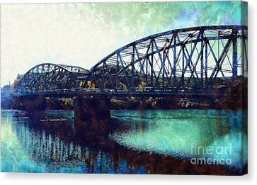 Mid-delaware River Bridge Canvas Print by Janine Riley