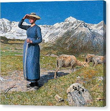 Midday On Alps On Windy Day Canvas Print by Giovanni Segantini