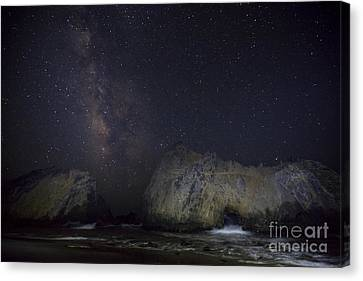 Midnight At Pfeiffer Beach Arch Canvas Print by Keith Kapple
