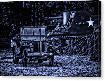 Midnight Battle And All Is Quite On The Front Lines Canvas Print by Thomas Woolworth