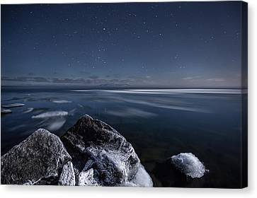 Midnight Freeze At Silver Harbour Canvas Print by Jakub Sisak