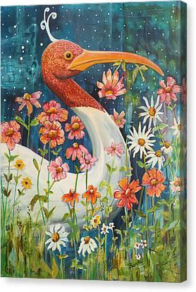 Midnight Stork Walk Canvas Print by Blenda Studio