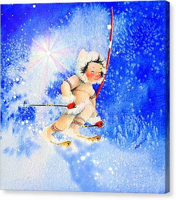 Midnight Sun Ski Racer Canvas Print by Hanne Lore Koehler