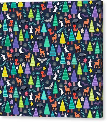 Midnight Woodland Canvas Print by Sharon Turner
