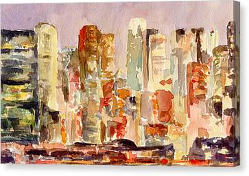 Midtown Manhattan Skyline At Dusk Watercolor Painting Of Nyc Canvas Print by Beverly Brown Prints