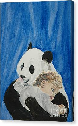 Zoo Animals Canvas Print featuring the painting Mika And Panda by Tamir Barkan