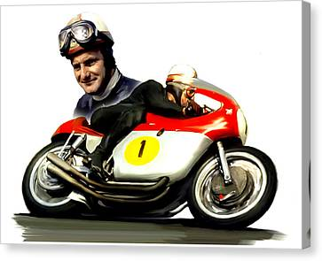 Mike The Bike  Mike Hailwood Canvas Print by Iconic Images Art Gallery David Pucciarelli