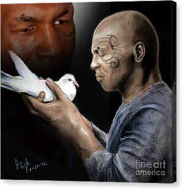 Mike Tyson And Pigeon II Canvas Print by Jim Fitzpatrick