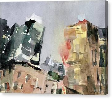 Milford Plaza 8th Avenue Watercolor Painting Of New York Canvas Print by Beverly Brown