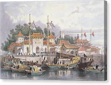 Military Station Of The Chinese Canvas Print by Thomas Allom
