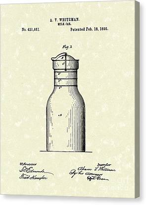 Milk Jar 1890 Patent Art Canvas Print by Prior Art Design