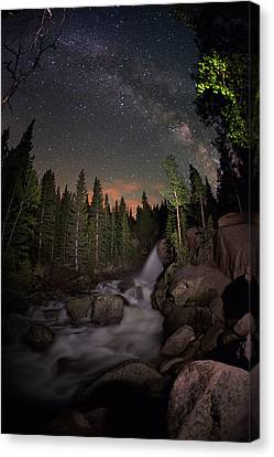 Milky Skies Over Alberta Falls Canvas Print by Mike Berenson