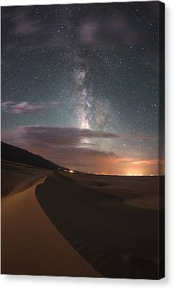 Milky Way Nightscape From Great Sand Dunes National Park Canvas Print by Mike Berenson