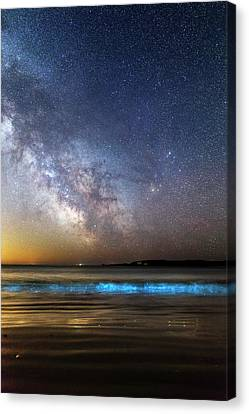 Milky Way Over Bioluminescent Plankton Canvas Print by Laurent Laveder