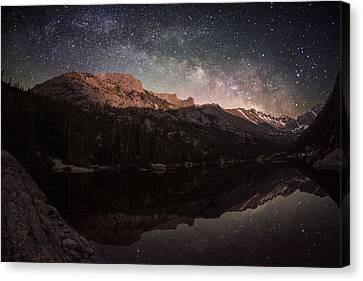 Milky Way Rising Over Longs Peak Canvas Print by Mike Berenson
