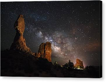 Milky Way Suspension At Balanced Rock Canvas Print by Mike Berenson