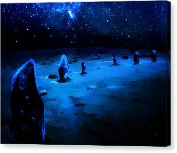 Milkyway Over The Hurlers Stone Circle Canvas Print by Menega Sabidussi