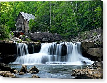Mill And Waterfall Canvas Print by Larry Ricker