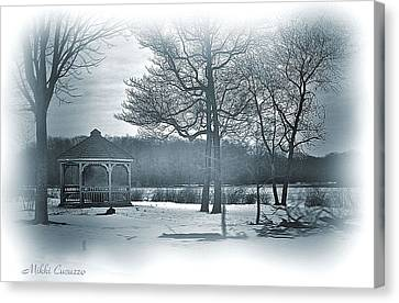 Mill Pond In Winter Canvas Print by Mikki Cucuzzo