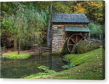 Mill Pond In Woods Canvas Print by William Jobes