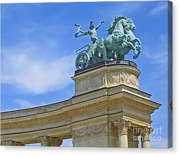 Millennium Monument Budapest Canvas Print by Ann Horn
