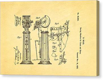 Mills Goodyear Sole Shoe Sewing Machine Patent Art 1869 Canvas Print by Ian Monk