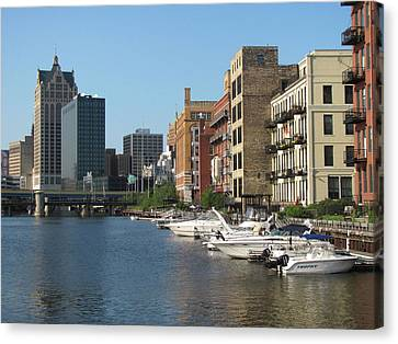 Milwaukee River Architecture 2 Canvas Print by Anita Burgermeister