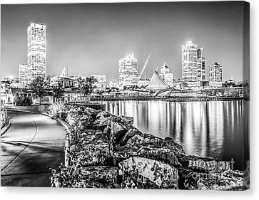 Milwaukee Skyline At Night Black And White Photo Canvas Print by Paul Velgos