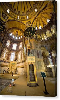 Mimbar And Mihrab In The Hagia Sophia Canvas Print by Artur Bogacki