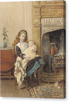 Minding Baby Canvas Print by George Goodwin Kilburne