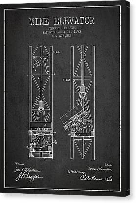 Mine Elevator Patent From 1892 - Charcoal Canvas Print by Aged Pixel