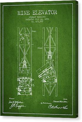 Mine Elevator Patent From 1892 - Green Canvas Print by Aged Pixel