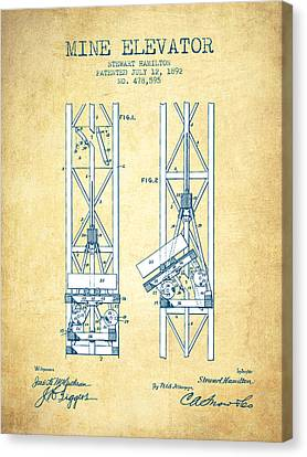 Mine Elevator Patent From 1892 - Vintage Paper Canvas Print by Aged Pixel