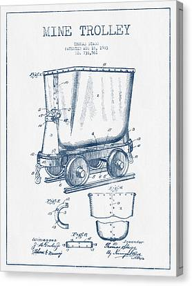 Mine Trolley Patent Drawing From 1903- Blue Ink Canvas Print by Aged Pixel