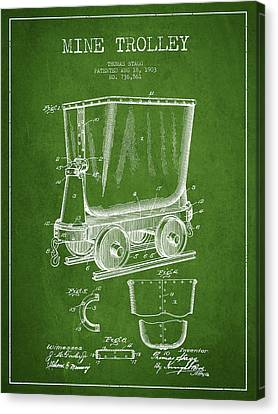 Mine Trolley Patent Drawing From 1903 - Green Canvas Print by Aged Pixel