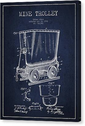 Mine Trolley Patent Drawing From 1903 - Navy Blue Canvas Print by Aged Pixel