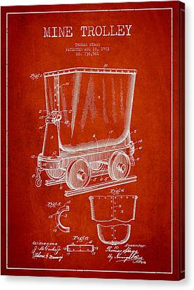 Mine Trolley Patent Drawing From 1903 - Red Canvas Print by Aged Pixel