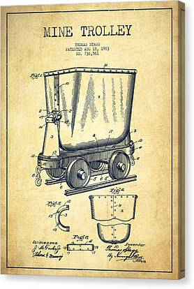 Mine Trolley Patent Drawing From 1903 - Vintage Canvas Print by Aged Pixel