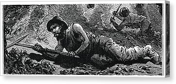 Miners In The Pit Canvas Print by Science Photo Library