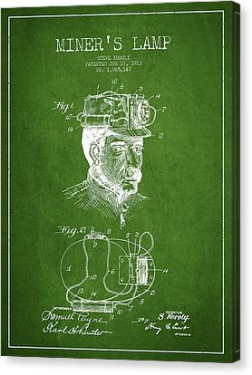 Miners Lamp Patent Drawing From 1913 - Green Canvas Print by Aged Pixel