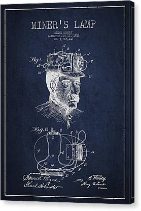 Miners Lamp Patent Drawing From 1913 - Navy Blue Canvas Print by Aged Pixel