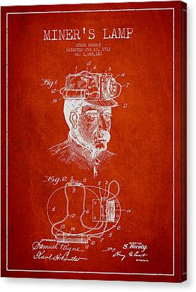 Miners Lamp Patent Drawing From 1913 - Red Canvas Print by Aged Pixel