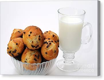 Mini Chocolate Chip Muffins And Milk - Bakery - Snack - Dairy - 1 Canvas Print by Andee Design