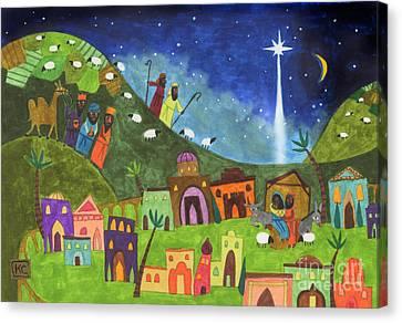 Mini Nativity Canvas Print by Kate Cosgrove