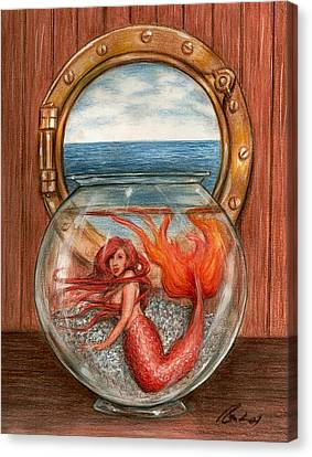Miniature Mermaid Canvas Print by Bruce Lennon