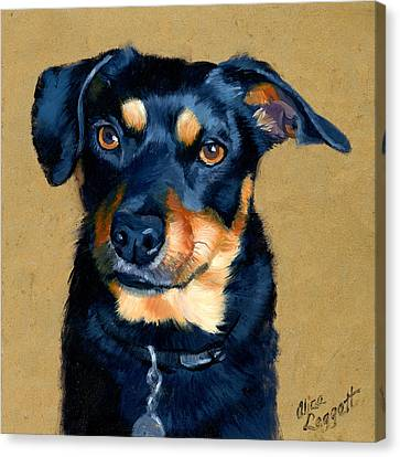 Miniature Pinscher Dog Painting Canvas Print by Alice Leggett