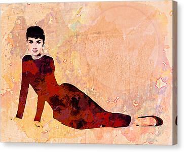 Minimal Audrey Hepburn Canvas Print by Georgiana Romanovna