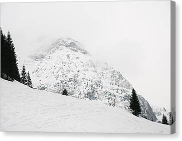 Minimalist Snow Landscape - Mountain And Trees In Winter Canvas Print by Matthias Hauser