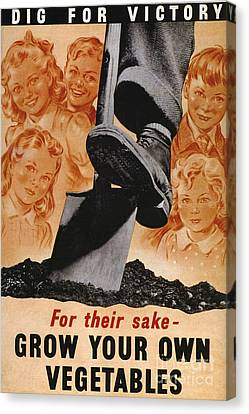 Ministry Of Agriculture 1940s Uk Spades Canvas Print by The Advertising Archives